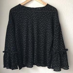 TopShop sheer Polka Dot blouse Bell Sleeve